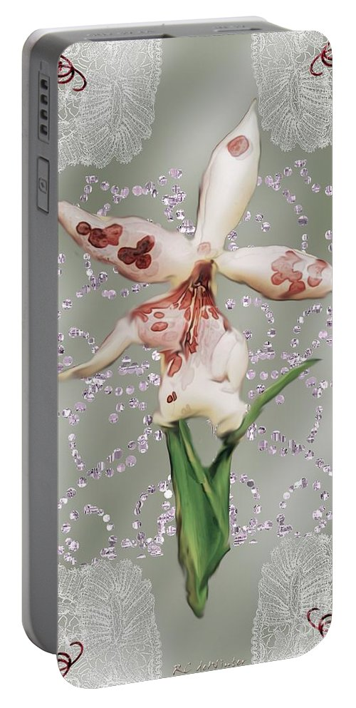Orchid Portable Battery Charger featuring the painting Penny Postcard Exotica by RC DeWinter