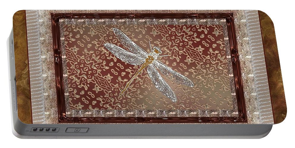 Dragonfly Portable Battery Charger featuring the painting Penny Postcard Sophisticated by RC DeWinter