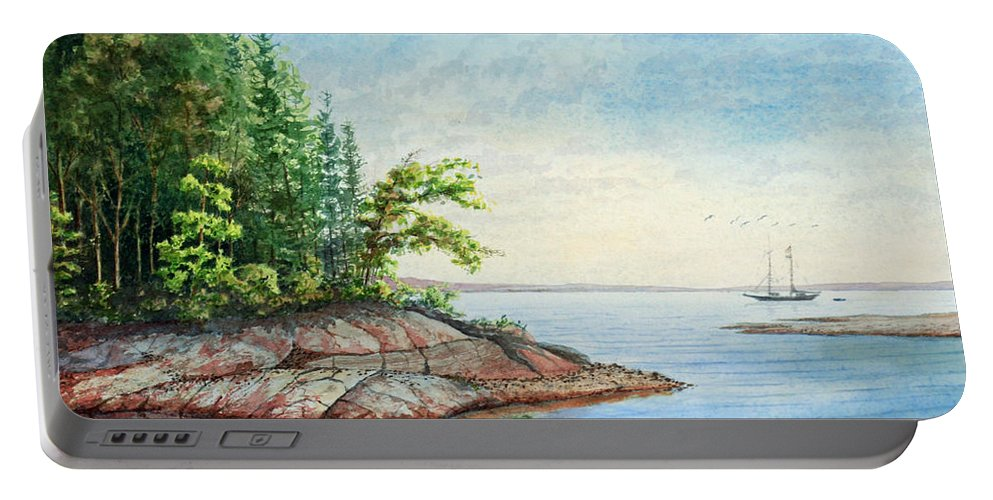 Landscape Portable Battery Charger featuring the painting Penobscot Inlet by Roger Rockefeller