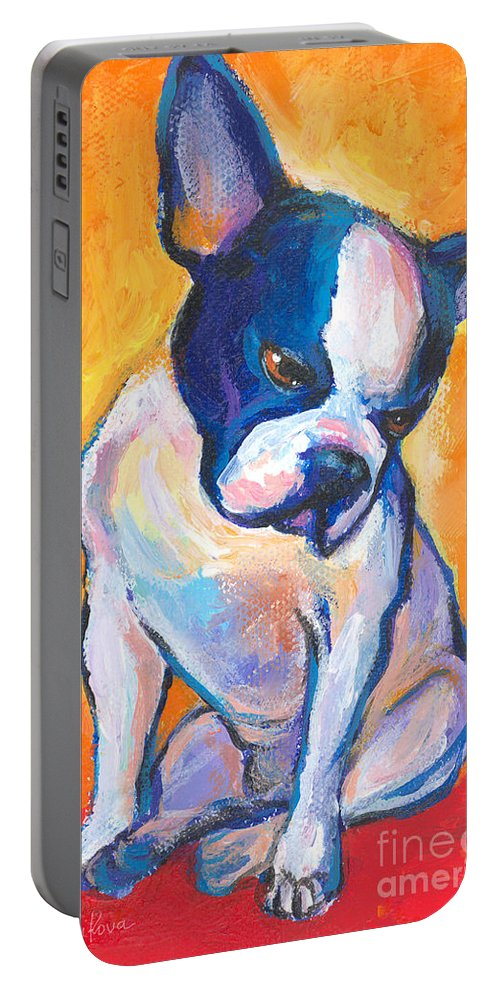 Boston Terrier Dog Painting Portable Battery Charger featuring the painting Pensive Boston Terrier Dog by Svetlana Novikova