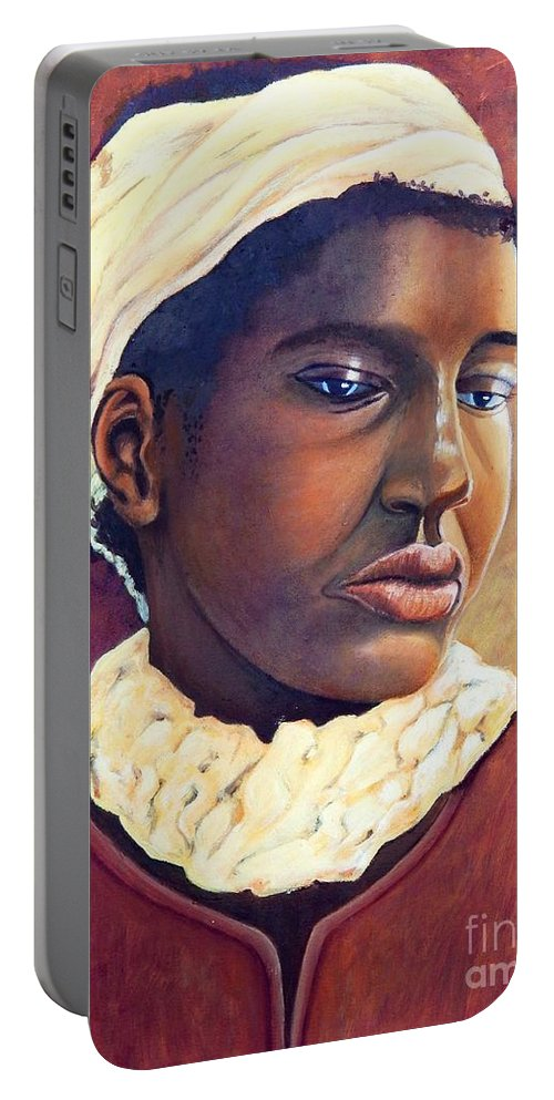 Portrait Portable Battery Charger featuring the painting Pensive Contemplation by Caroline Street