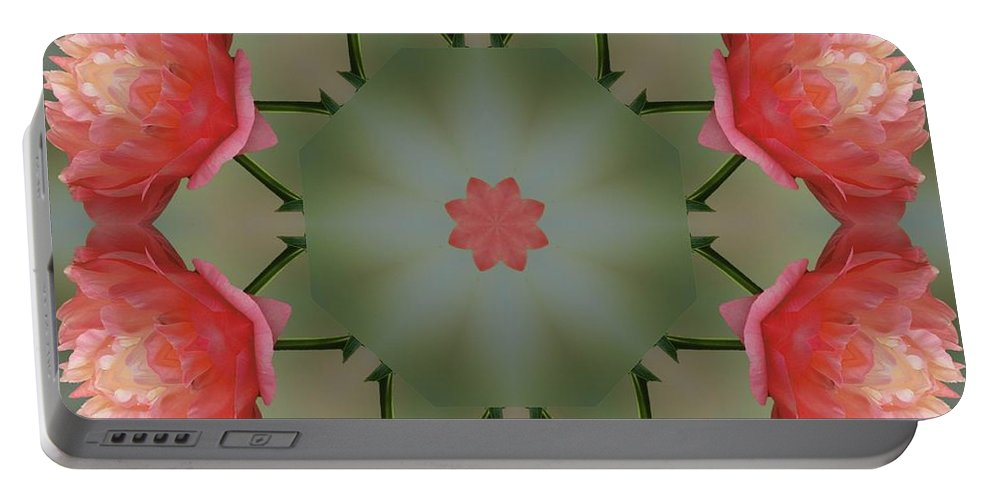 Kaleidoscope Portable Battery Charger featuring the photograph Peony Garden by Lena Photo Art