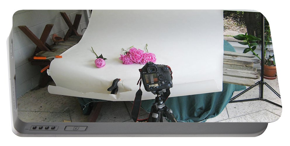 Peonies Portable Battery Charger featuring the photograph Peonies And Tripod by Rich Franco