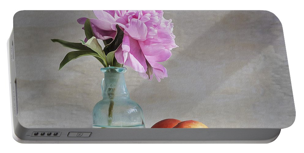Peony Portable Battery Charger featuring the photograph Peony Blue Bottle And Nectarine by Rich Franco