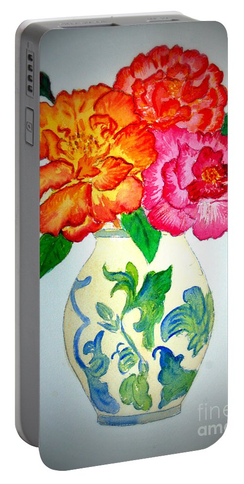 Bloom Portable Battery Charger featuring the painting Peonys In Vase by Donna Walsh