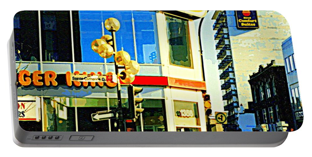 Montreal Portable Battery Charger featuring the painting People Enjoy Beautiful Downtown Sainte Catherine Burger King Peel Scene By Hotel Comfort Suites by Carole Spandau