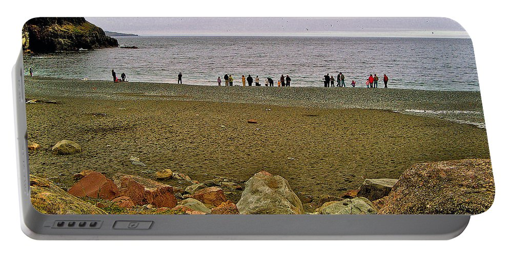 People Lined Up To Catch Capelin On The Shore Of Middle Cove Portable Battery Charger featuring the photograph People Lined Up To Catch Capelin On The Shore Of Middle Cove-nl by Ruth Hager