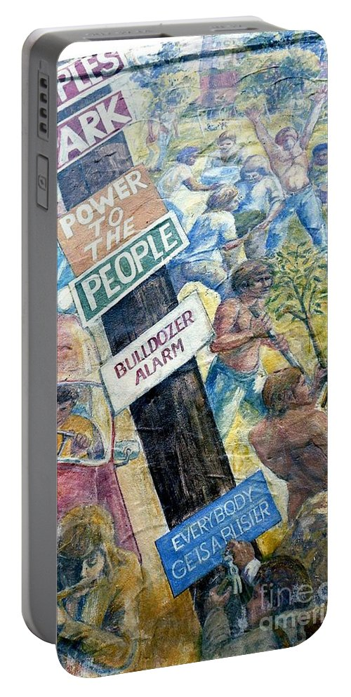 Mural Portable Battery Charger featuring the photograph People's Wall Berkeley Ca 1977 by Ed Weidman