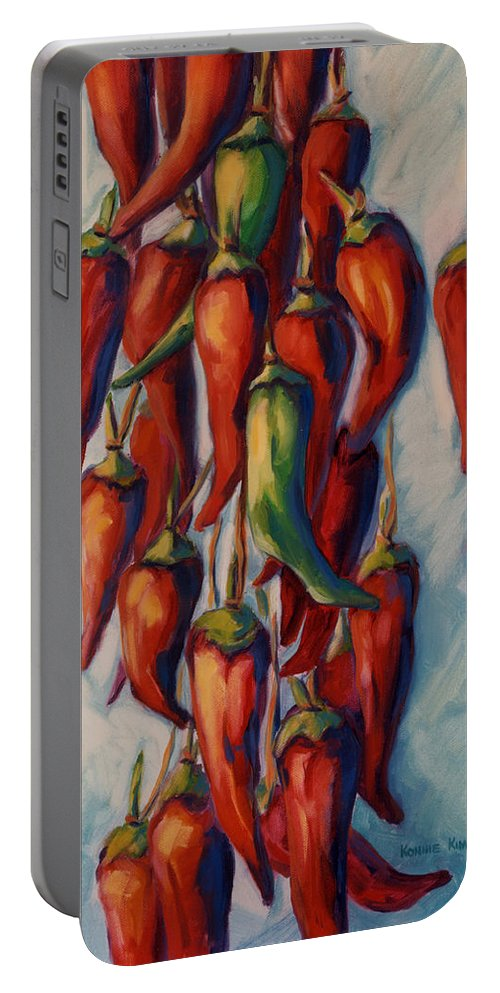 Chili Portable Battery Charger featuring the painting Peppers by Konnie Kim