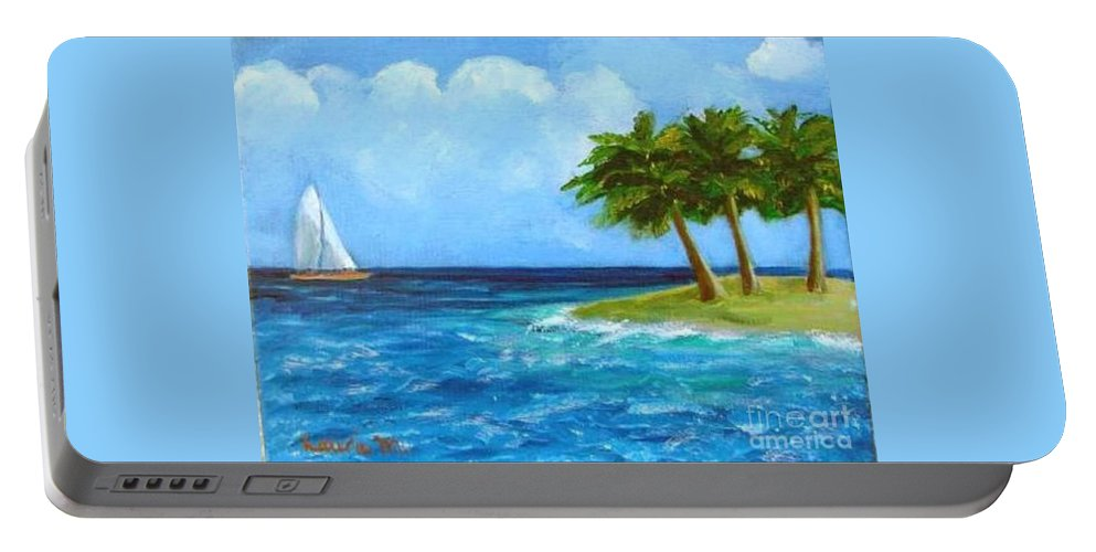 Boats Portable Battery Charger featuring the painting Perfect Sailing Day by Laurie Morgan