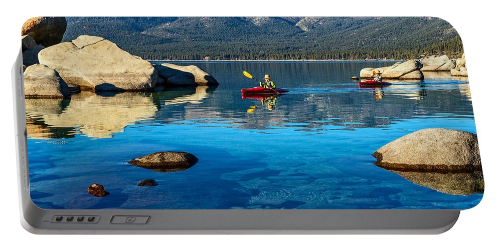 Sand Harbor Portable Battery Charger featuring the photograph Perfect Sunday by Jamie Pham