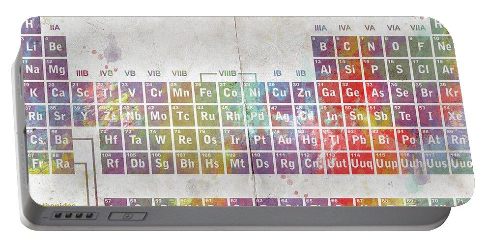 Feature Art Portable Battery Charger featuring the digital art Periodic Table Of The Elements by Paulette B Wright