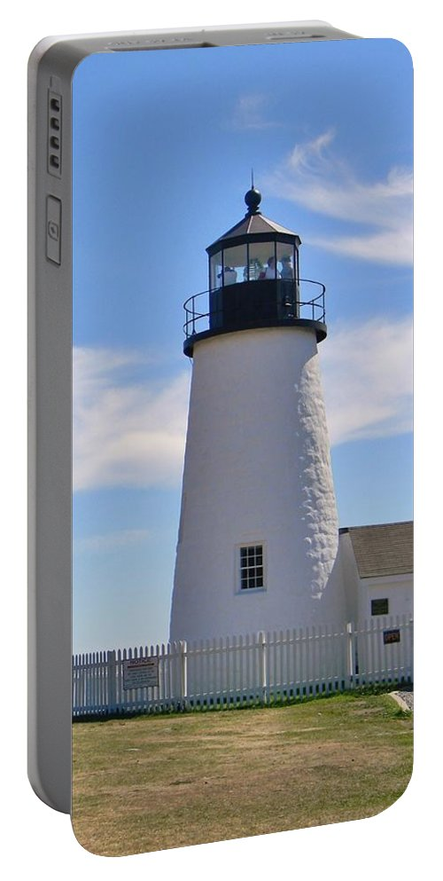 Pemaquid Lighthouse Portable Battery Charger featuring the photograph Pemaquid Lighthouse Visitors by Jean Goodwin Brooks