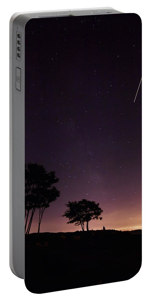 Southport Portable Battery Charger featuring the photograph Perseids Meteor Over Sasco Hill by Stephanie McDowell