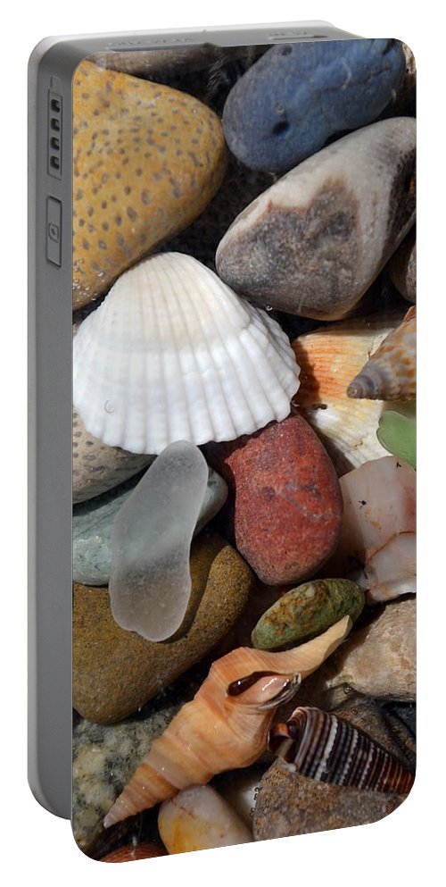 Stone Portable Battery Charger featuring the photograph Petoskey Stones Lv by Michelle Calkins