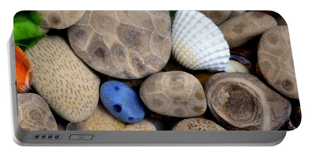 Square Portable Battery Charger featuring the photograph Petoskey Stones V by Michelle Calkins