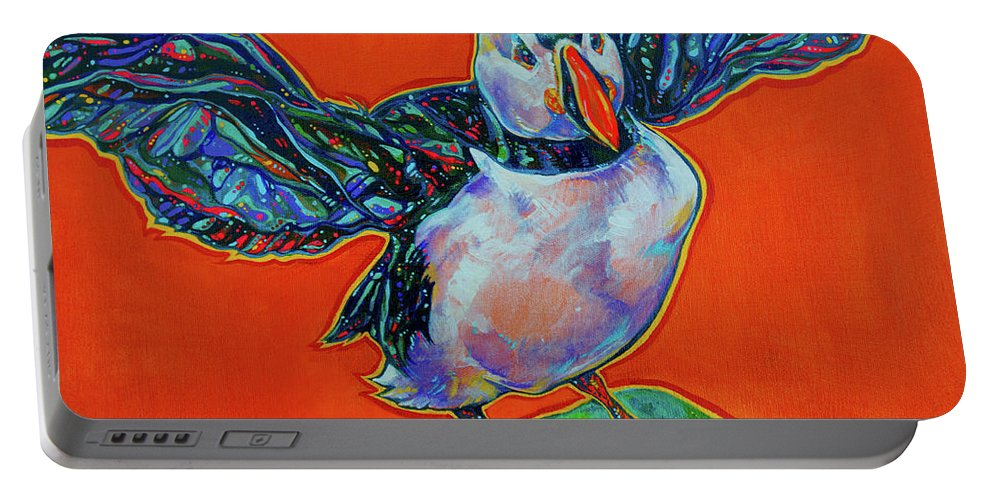 Puffin Portable Battery Charger featuring the painting Petty Harbour Puffin by Derrick Higgins