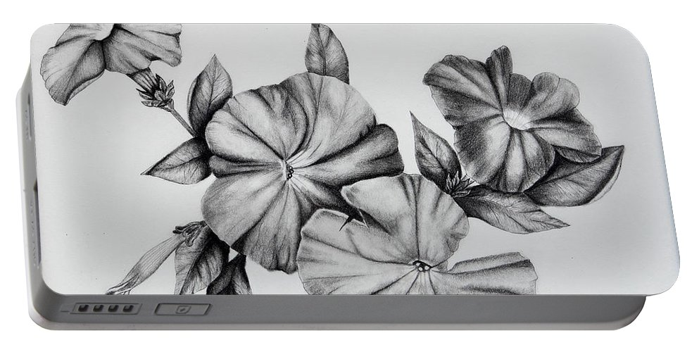Petunias Portable Battery Charger featuring the drawing Petunias by Karen Beasley