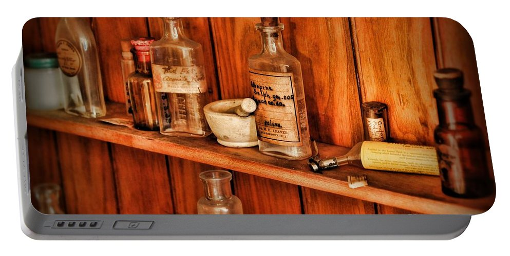 Paul Ward Portable Battery Charger featuring the photograph Pharmacy - A Bottle Of Poison by Paul Ward
