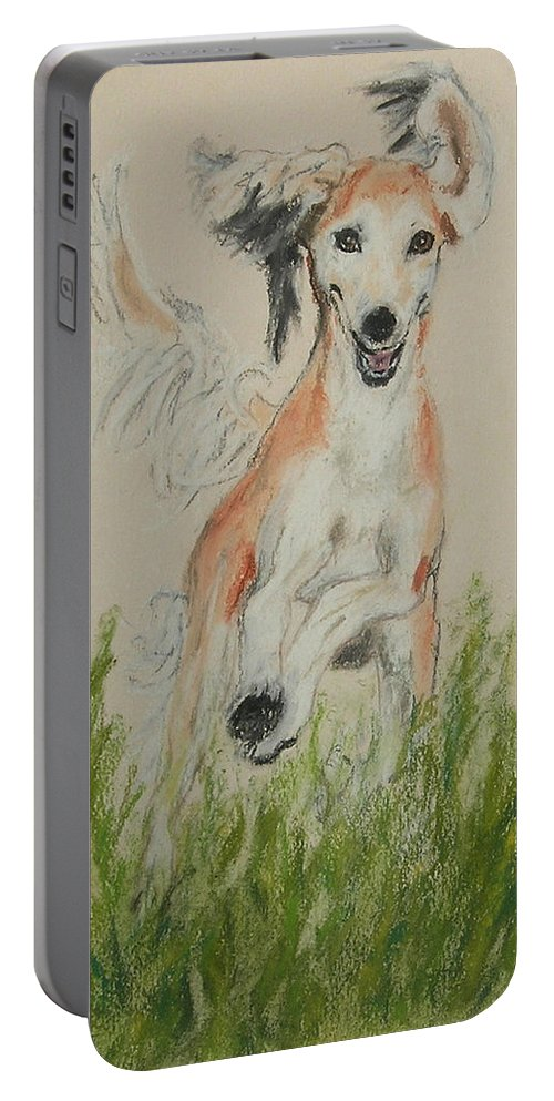 Saluki Portable Battery Charger featuring the drawing Pheret by Cori Solomon
