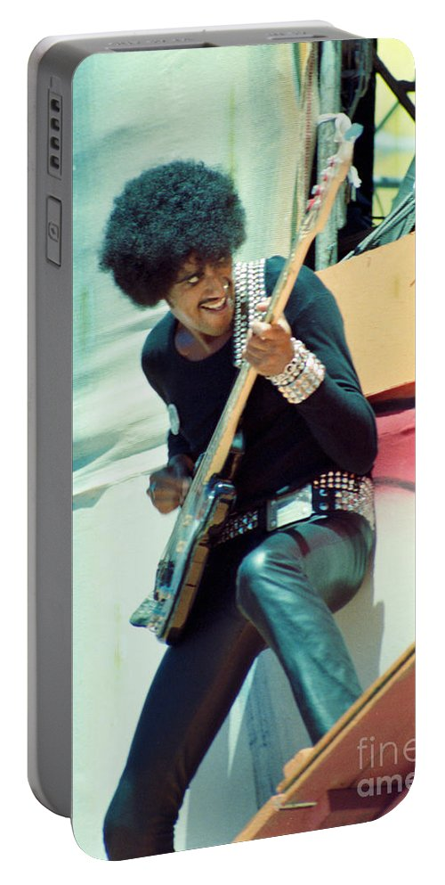Phil Lynott Portable Battery Charger featuring the photograph Phil Lynott Of Thin Lizzy - Black Rose Tour Day On The Green 7-4-79 by Daniel Larsen