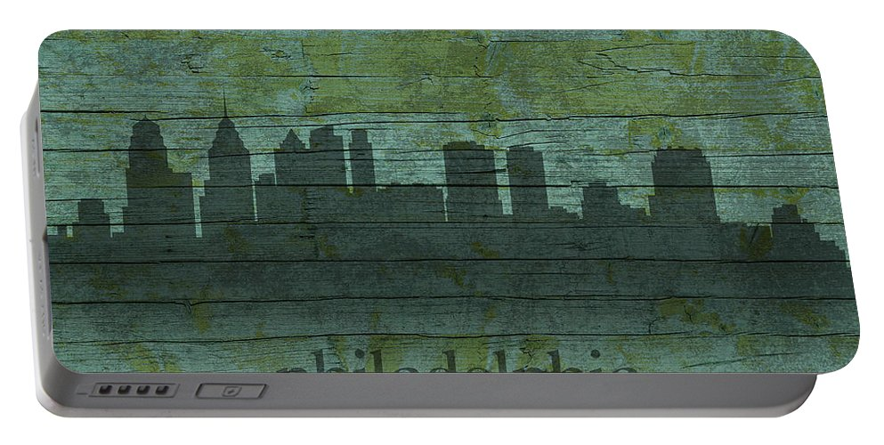Philadelphia Portable Battery Charger featuring the mixed media Philadelphia Pennsylvania Skyline Art On Distressed Wood Boards by Design Turnpike