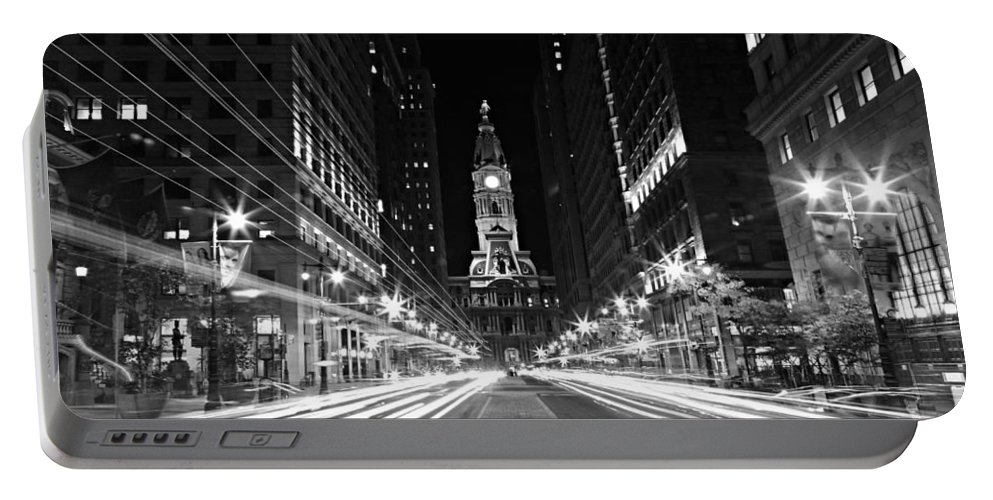 America Portable Battery Charger featuring the photograph Philadephia City Hall -- Black And White by Stephen Stookey