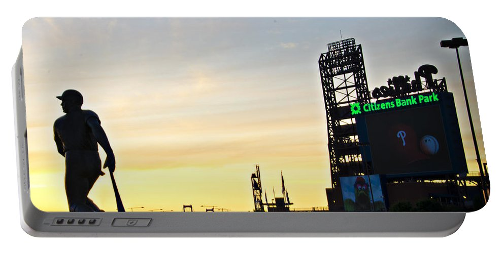 Phillies Portable Battery Charger featuring the photograph Phillies Stadium At Dawn by Bill Cannon