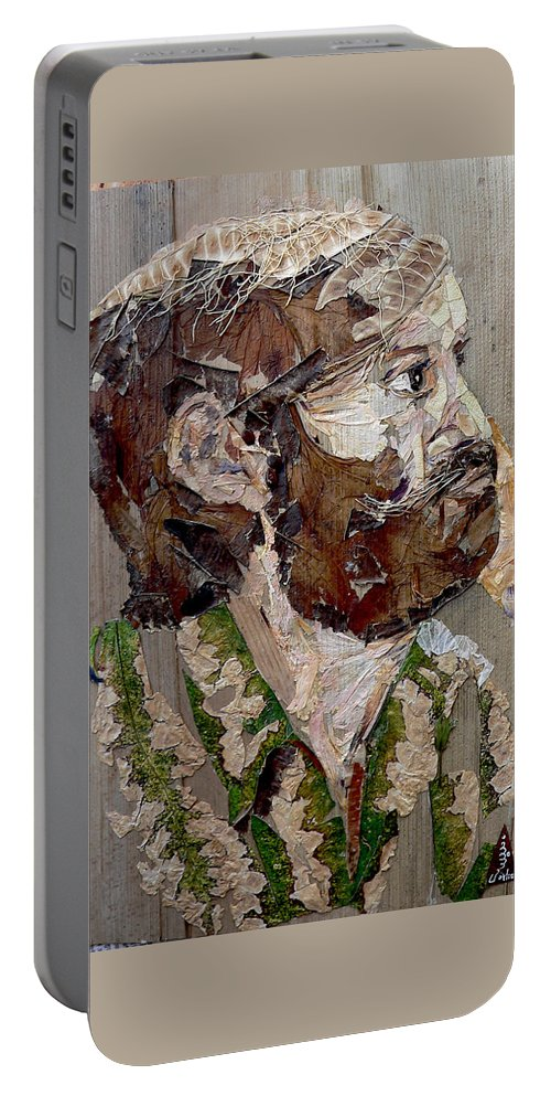 Portrait Portable Battery Charger featuring the mixed media Philospher's Vision by Basant Soni