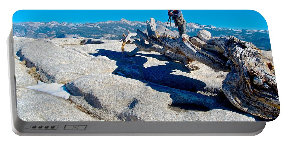Photographer On Top Of Sentinel Dome Top Of Sentinel Dome In Yosemite Np Portable Battery Charger featuring the photograph Photographer On Top Of Sentinel Dome In Yosemite Np-ca by Ruth Hager