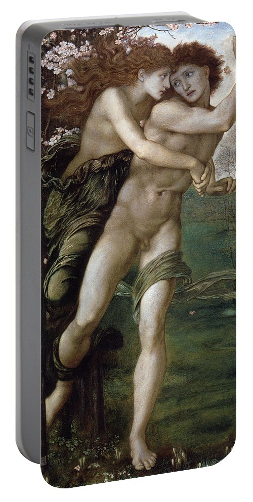 Edward Burne Jones Portable Battery Charger featuring the digital art Phyllis And Demophoon by Edward Burne Jones