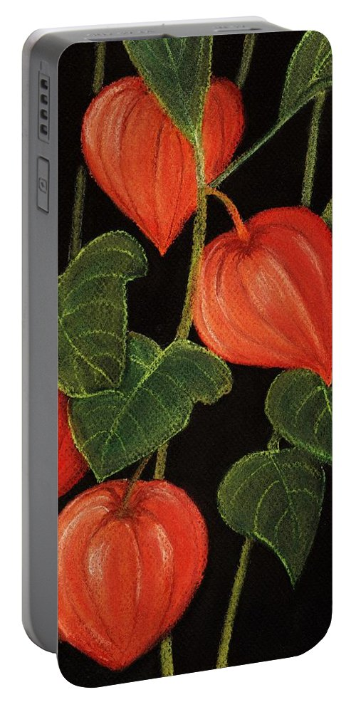 Plant Portable Battery Charger featuring the painting Physalis by Anastasiya Malakhova