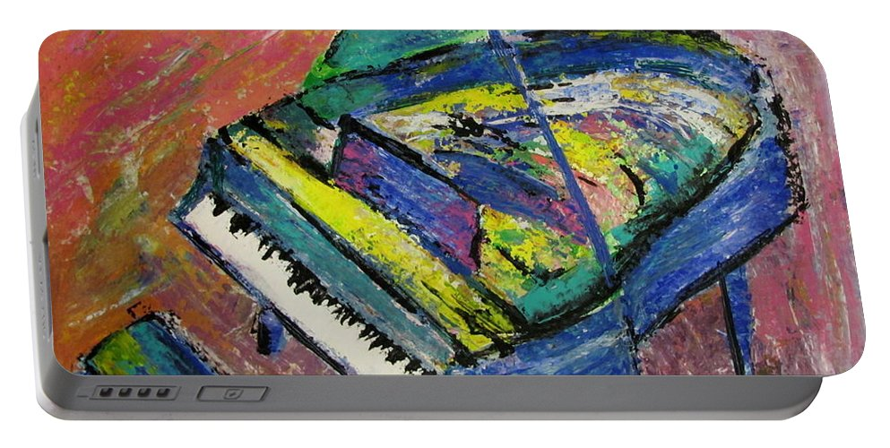 Piano Portable Battery Charger featuring the painting Piano Blue by Anita Burgermeister