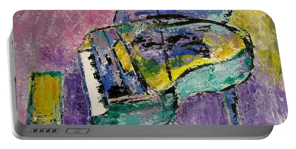 Impressionist Portable Battery Charger featuring the painting Piano Green by Anita Burgermeister