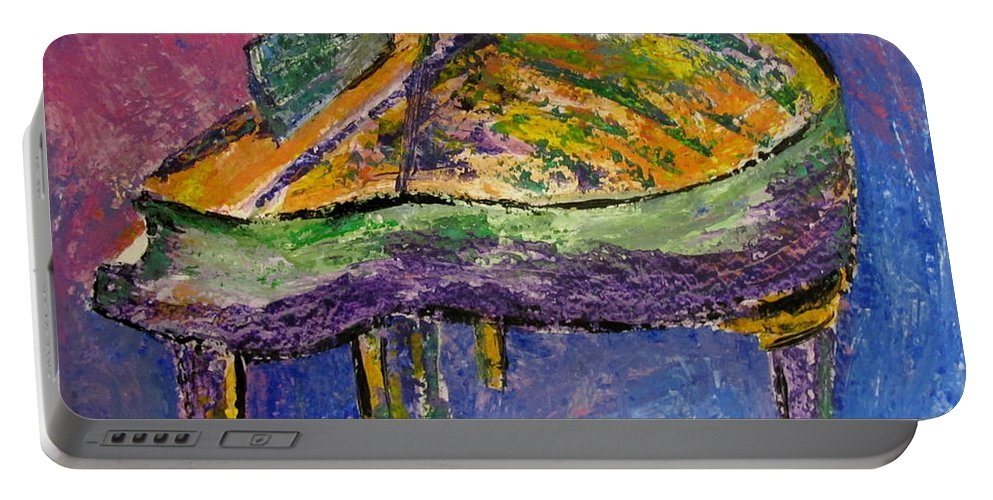 Impressionist Portable Battery Charger featuring the painting Piano Purple by Anita Burgermeister