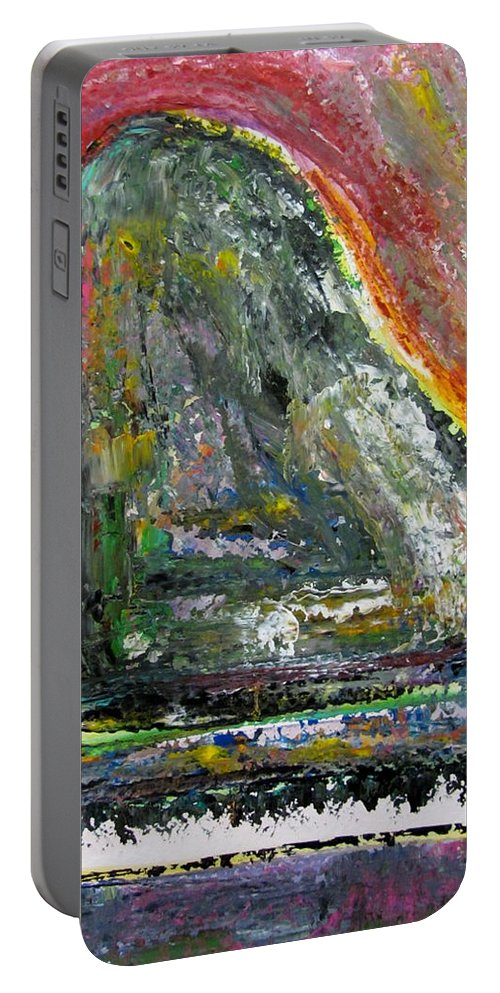 Impressionist Portable Battery Charger featuring the painting Piano Red by Anita Burgermeister