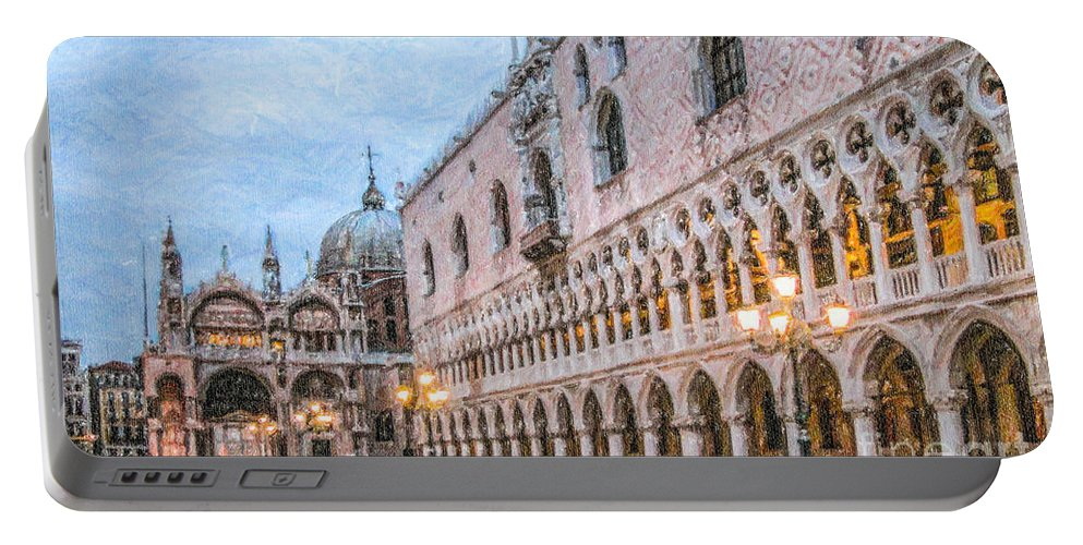 Piazza San Marco Portable Battery Charger featuring the digital art Piazza San Marco Venice by Liz Leyden