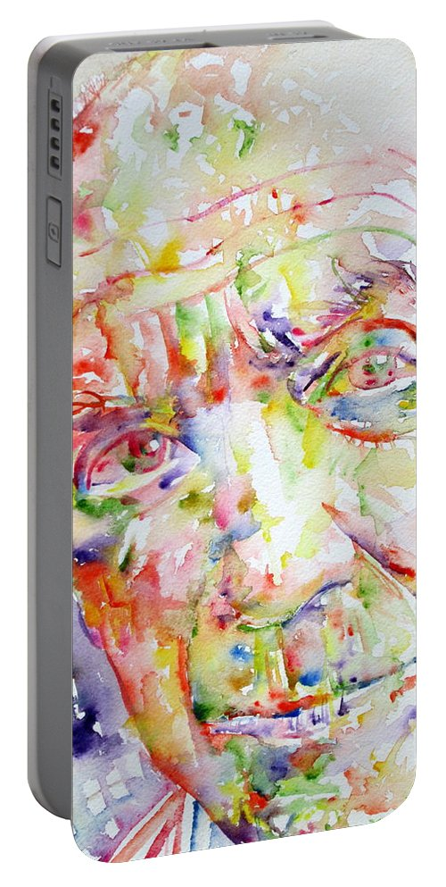 Pablo Portable Battery Charger featuring the painting Picasso Pablo Watercolor Portrait.2 by Fabrizio Cassetta