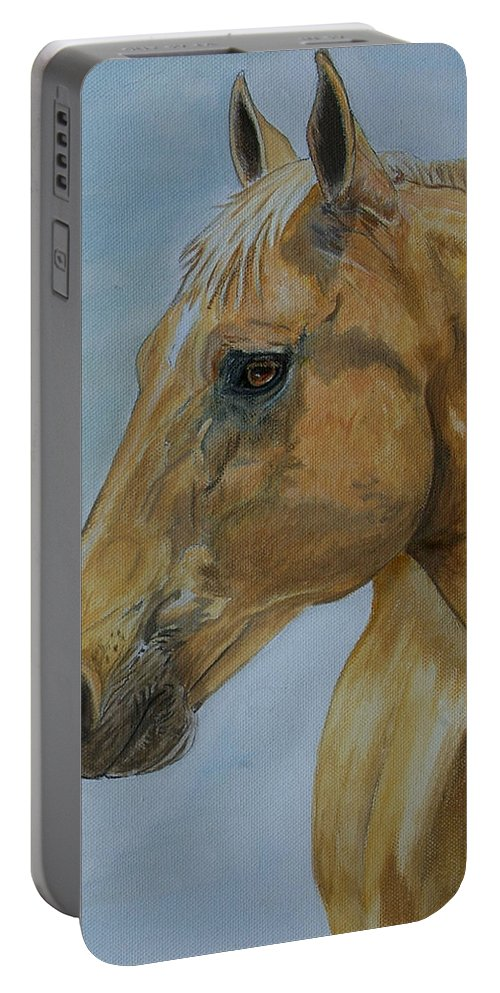 Horse Portable Battery Charger featuring the painting Picasso by Tracey Beer