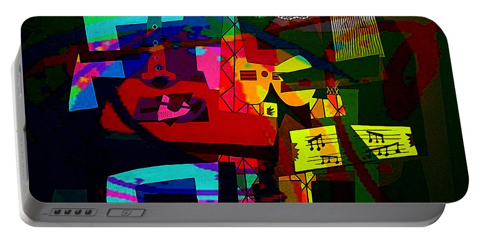 Picasso Portable Battery Charger featuring the mixed media Picasso With A Twist Of Color. by Marvin Blaine