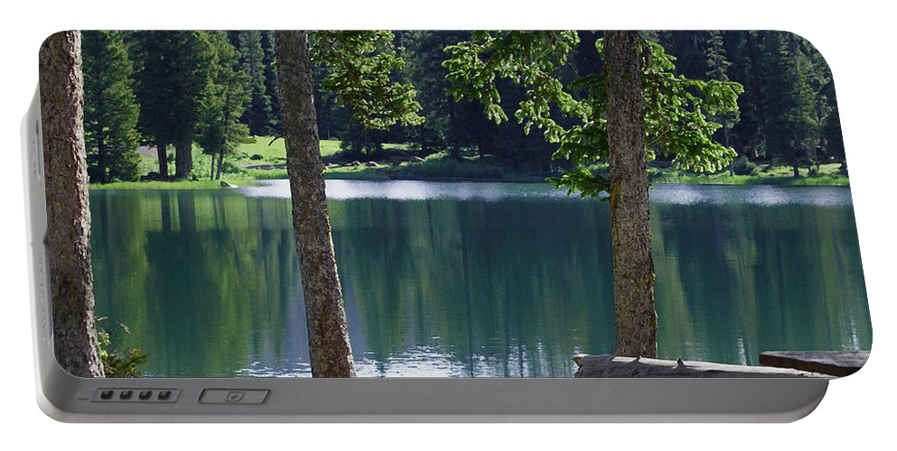 Lakes Portable Battery Charger featuring the digital art Picnic By The Lake by Ernie Echols