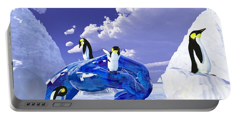Nature Portable Battery Charger featuring the digital art Piece Of Ice by Eric Nagel