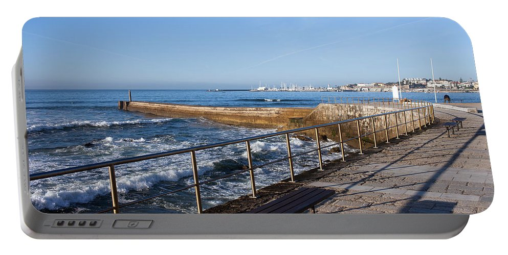 Cascais Portable Battery Charger featuring the photograph Pier And Promenade By The Atlantic Ocean In Cascais by Artur Bogacki