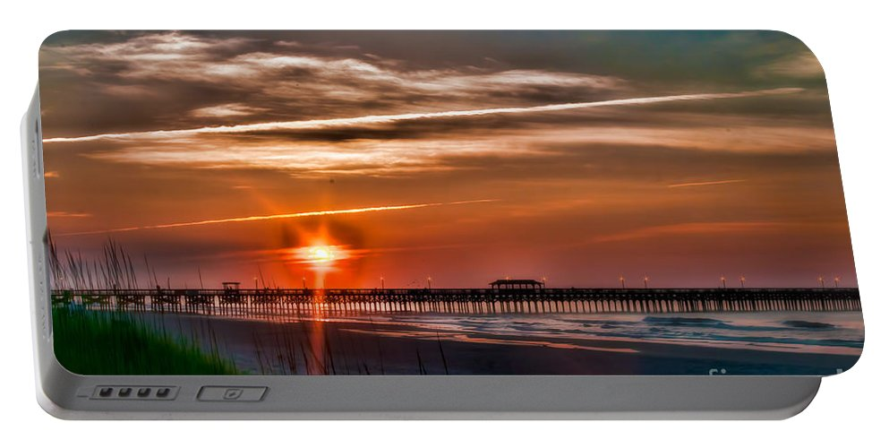 Pier Portable Battery Charger featuring the photograph Pier At Dawn 167 by Photos By Cassandra
