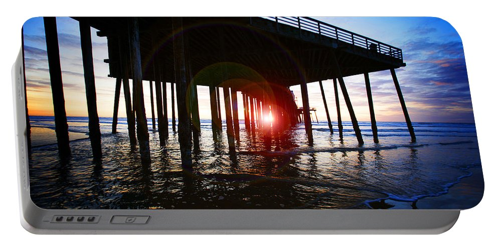 Pier Portable Battery Charger featuring the photograph Pier At Sunset by Jeff Klingler