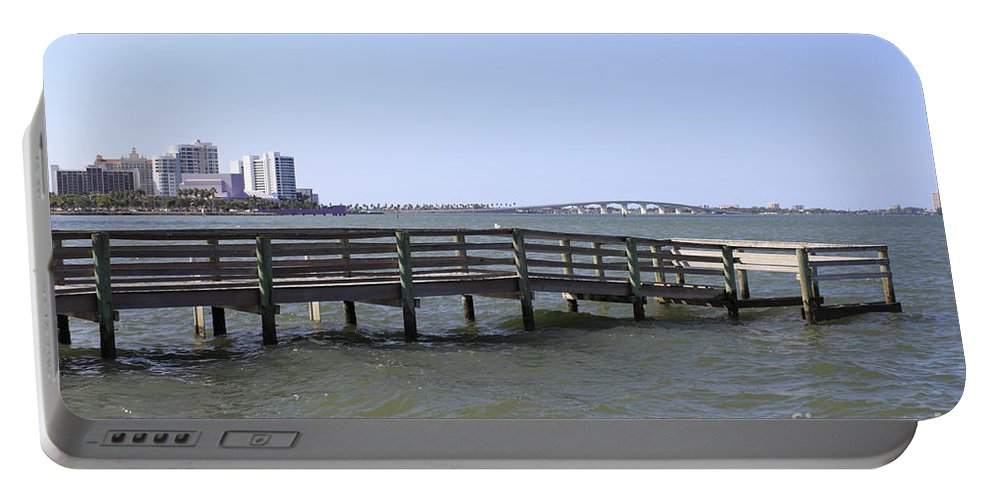 Pier Portable Battery Charger featuring the photograph Pier North Of Sarasota by Lee Serenethos