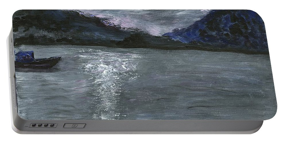 Water Portable Battery Charger featuring the painting Pier View by Alice Faber