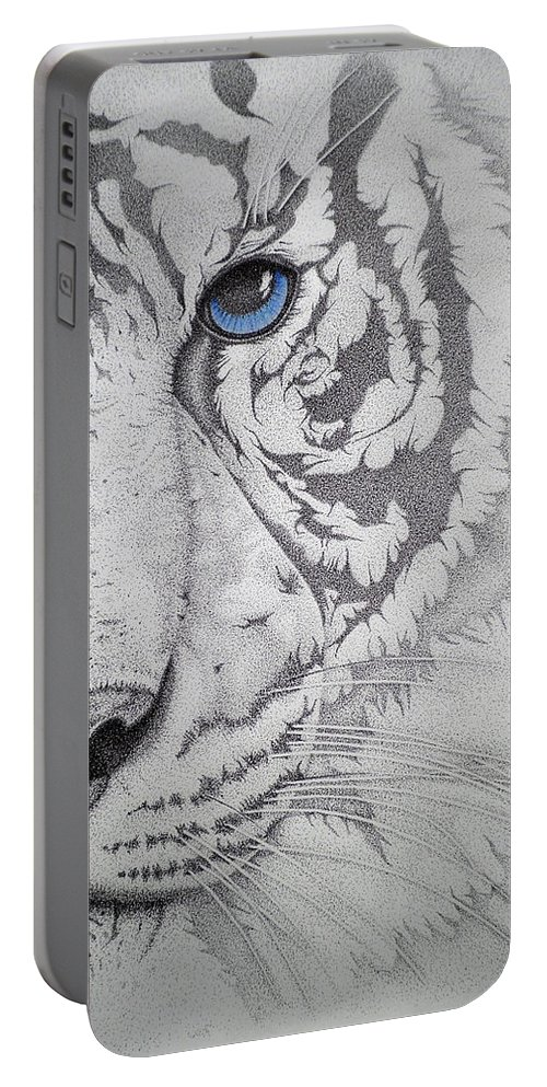 Tigers Paintings Portable Battery Charger featuring the drawing Piercing II by Mayhem Mediums
