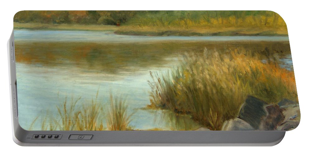 Landscape Portable Battery Charger featuring the painting Piermont Shoreline by Phyllis Tarlow