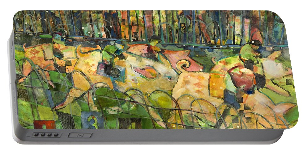 Jen Norton Portable Battery Charger featuring the painting Pig Racing In Belturbet Ireland by Jen Norton